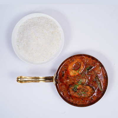 Chepala pulusu with plain Rice